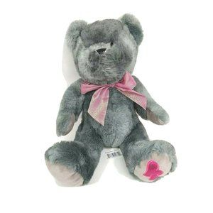 Walmart Teddy Bear Gray Pink Bow Pink Heart